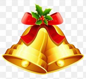 Christmas Golden Bells Ornament Clipart - Christmas Jingle Bells Clip Art PNG