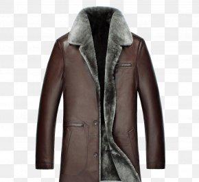Plush Long Leather Jacket - Leather Jacket Clothing PNG