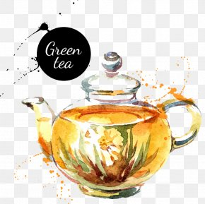 Hand-painted Pot Of Green Tea - Watercolor Painting Drawing Royalty-free Teapot PNG