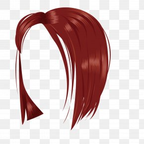 Wine Red Mature Female Female Wig - Wig Woman Red PNG