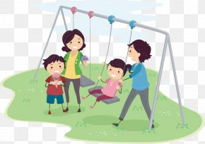 Creative Cartoon Characters Swing - Family Quality Time Clip Art PNG