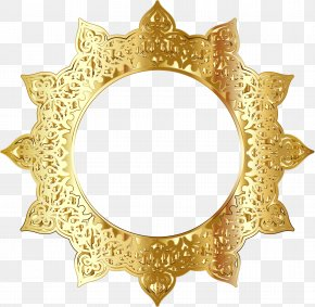 Golden Round Frame Picture - Picture Frame Ornament Clip Art PNG