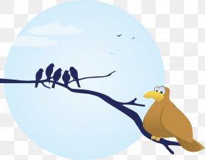 Bird Branch Cartoon Cute Full Moon - Bird Owl Silhouette PNG
