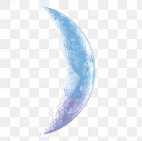 Vector Sky Blue Half Moon - Moon Euclidean Vector PNG