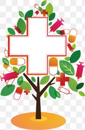 Red Cross Medical Abstract Tree PNG