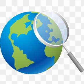 Blue Earth And Magnifying Glass - Earth Magnifying Glass PNG