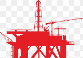 Red Oil Recovery - Oil Platform Drilling Rig Derrick Clip Art PNG