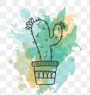 Drawing Vector Flowering Cactus - Paper Cactaceae Watercolor Painting Drawing Euclidean Vector PNG