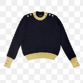 Black Button Sweater - Sweater Hoodie Button Neckline PNG