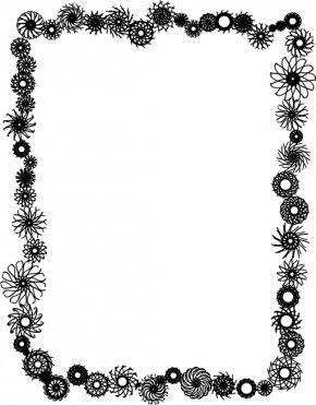 Picture Frame Cliparts - Flower Black And White Clip Art PNG