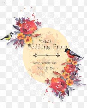 Vector Watercolor Flowers Wedding Invitation Poster - Wedding Invitation Flower PNG