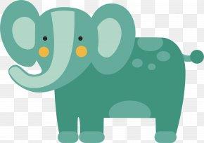 Green Elephant Vector - Indian Elephant Illustration PNG
