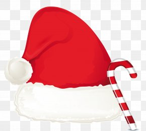 Christmas Candy Cane Ornament And Santa Hat Clipart - Santa Claus Hat Christmas Clip Art PNG