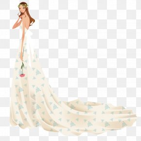 Take Roses Woman Wearing Dress - Gown Contemporary Western Wedding Dress PNG