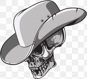 Skull - T-shirt Skull Cowboy Hat PNG