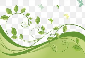 Leaves Butterfly Vine Pattern Vector - Green Euclidean Vector PNG