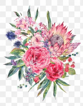 Watercolor Flowers - Floral Design Flower Bouquet Watercolor Painting Stock Illustration PNG