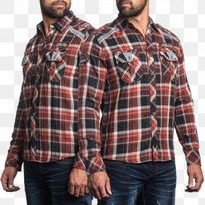 T-shirt - T-shirt Tartan Dress Shirt Maroon PNG
