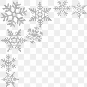 Snowflakes Border Image - Black And White Point Pattern PNG