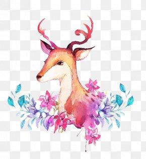 Watercolor Deer - Deer Creative Watercolor Watercolor Painting PNG