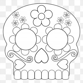 Coloring Pages For Adults Sugar Skull - Clip Art Human Behavior Pattern Flower Product PNG