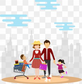 Family Travel Family Shopping Vector - Shopping Family Euclidean Vector Clip Art PNG