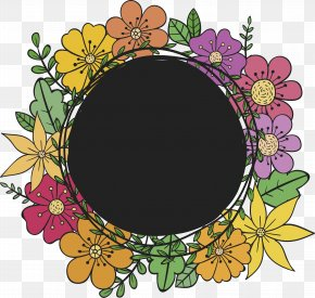 Hand-painted Color Flower Title Box - Flower Euclidean Vector Floral Design Drawing Download PNG