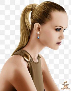 Hair - Long Hair Earring Ponytail Brown Hair PNG