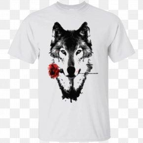 T-shirt Printing - Gray Wolf T-shirt Black Wolf Animal Art PNG