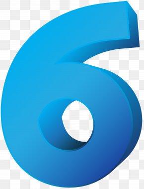 Blue Number Six Transparent Clip Art Image - Number Clip Art PNG