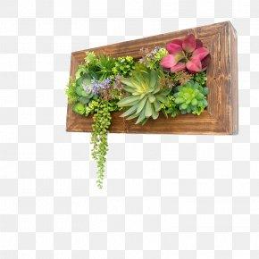 Artificial Flowers Succulents Wooden Wall Hangings - Green Wall Garden Flowerpot Succulent Plant PNG