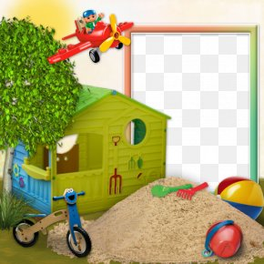 Cartoon Sand Toys With A Decorative Frame House - Picture Frame Digital Photo Frame Download PNG