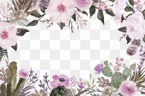Purple Fresh Flowers Border Texture - Cut Flowers Watercolor Painting PNG