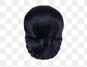 Show Match Dress With Bride Hair Style - Long Hair Fur Black Hair Wig PNG