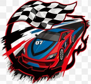 Hand-painted Checkered Flag And Racing - Auto Racing Racing Flags Royalty-free PNG