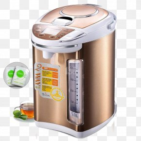 Monthly Pin Golden Cylinder Electric Kettle - Small Appliance Electric Kettle Electricity Stainless Steel PNG