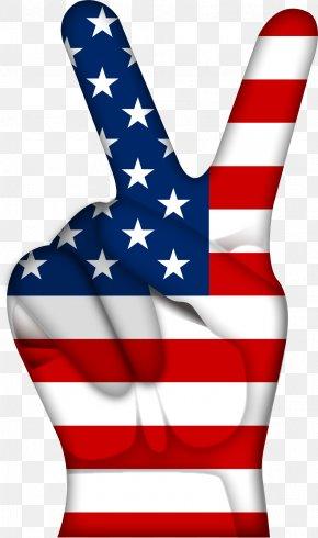 Vector American Flag Gesture - V Sign Computer File PNG