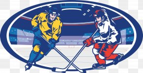 Ice Hockey Illustration - Ice Hockey Stick Illustration PNG