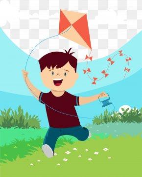 The Boy Flies A Kite - International Kite Festival In Gujarat U2013 Uttarayan Euclidean Vector Illustration PNG