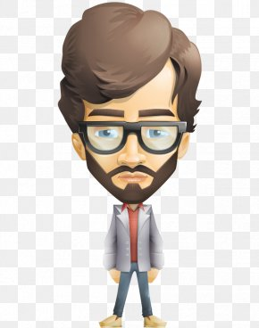Q Version Of The Cartoon Hand-painted Bulk Body Small Beard Man - Cartoon Character Beard Clip Art PNG