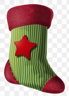 Christmas Stocking With Star Clipart Image - Christmas Stocking Clip Art PNG