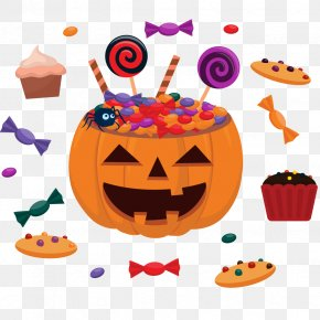 Vector Happy Pumpkin And Candy - Halloween Children's Party Flyer PNG
