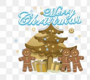 Gingerbread Man Cartoon Christmas Gift Vector - Christmas Tree Gift Illustration PNG