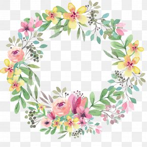 Greenery Wreath - Wreath Floral Design Flower Watercolor Painting Wedding Invitation PNG