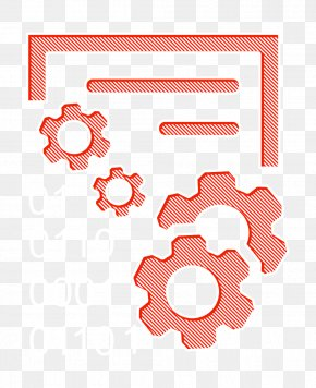 Orange Data Icons Icon - Data Icon Interface Icon Data Management Interface Symbol With Gears And Binary Code Numbers Icon PNG