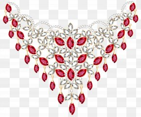 Transparent Diamond And Ruby Necklace Clipart - Earring Necklace Diamond Jewellery Clip Art PNG