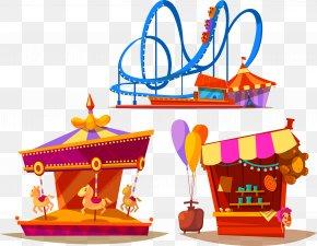 Vector Creative Roller Coaster Amusement Park Carousel - Amusement Park Carousel Roller Coaster PNG