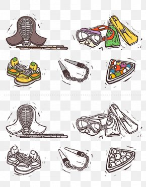 Hand-painted Icon Of Sports Equipment - Sports Equipment Illustration PNG
