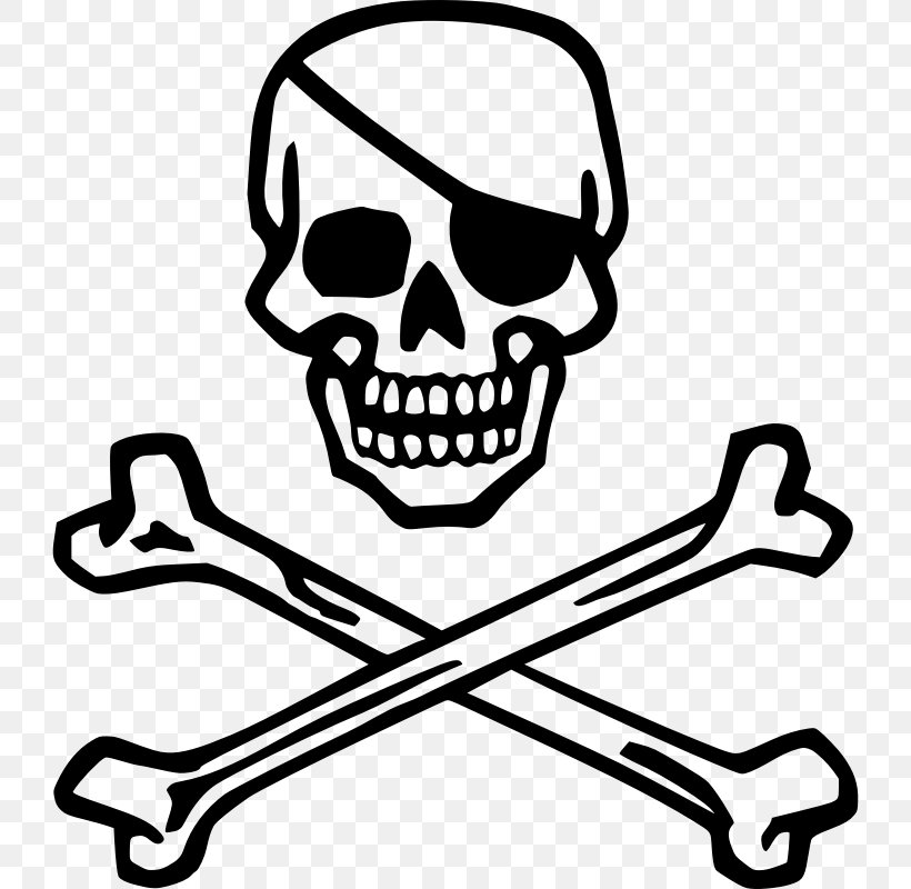 Piracy Skull And Crossbones Pirates Of The Caribbean Jolly Roger, PNG, 726x800px, Piracy, Automotive Design, Black And White, Bone, Decal Download Free