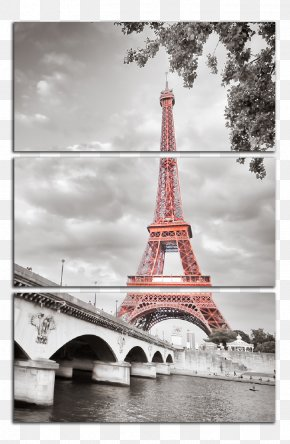 Eiffel Tower - Eiffel Tower Canvas Print Art Black And White PNG